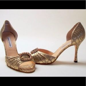 Manolo Blahnik Sedaraby Gold Jewel Heels